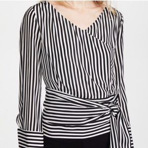 White Black Silk ALICE + OLIVIA Striped Wrap Top M